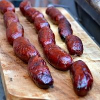 Smoked duck sausage. His recipe, my photo
