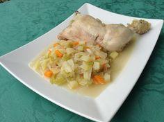 Muslo de pollo cocido con verduritas depurativas