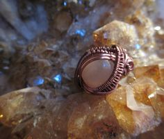 Peach Moonstone Wire Wrapped Ring Size 5 on Etsy, $35.00