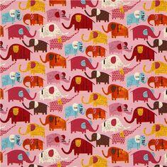 pale pink elephant canvas fabric by Nancy Wolff Kokka 2