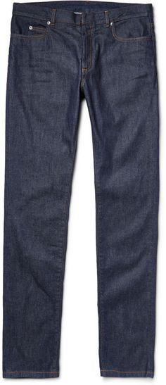 $470, Maison Margiela Slim Fit Raw Denim Jeans. Sold by MR PORTER. Click for more info: https://lookastic.com/men/shop_items/308268/redirect