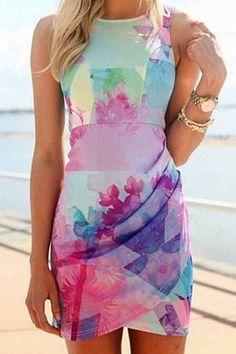 Colorful Print Bodycon Sundress