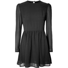 Black Chiffon Skater Dress ($42) ❤ liked on Polyvore featuring dresses, black, little black dress, black sheer dress, black skater dress, long sleeve black dress and black keyhole dress