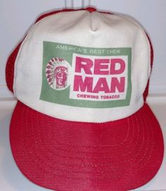 2df19456305 Vintage RED MAN Chewing Tobacco America s Chew Mesh Truckers Cap Hat  Snapback