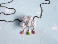 Necklace crochet Cloud raindrop