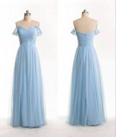 Image of Simple Handmade Sweetheart Off Shoulder Prom Dresses, Blue Formal Dresses