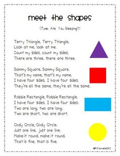 Yah! It's the weekend! We finally wrapped up our 2D shapes unit. I have a few *freebies* for you (including the song above) so come by my blog.