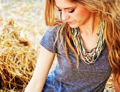 SALE New Creation T-shirt Necklace- yellow/navy