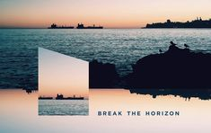 ~ Break the Horizon ~ Experimenting with the layout. Rocks, Coast, Waves, Layout, Ship, Sunset, Instagram, Sunsets, Page Layout
