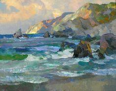 """Shark Harbor . Kevin Macpherson . Oil Seascape, 14"""" x 18"""""""