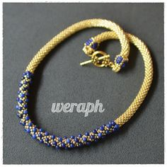 Beaded crochet rope with lapis lazuli beads. Inspiration only Bead Crochet Patterns, Bead Crochet Rope, Crochet Bracelet, Beading Patterns, Beaded Crochet, Beaded Earrings, Beaded Jewelry, Beaded Bracelets, Gold Necklaces
