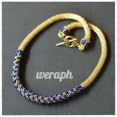 Beaded crochet rope with lapis lazuli beads.