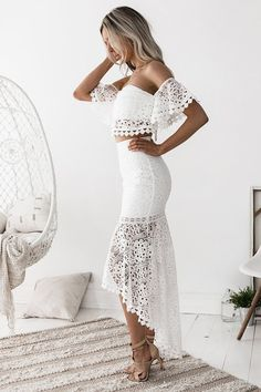 The Celine Lace Set in White // Best Seller Alert // The perfect summer outfit for any occasion/ / Nouveau Riche Boutique White Sleeveless Dress, White Midi Dress, White Skirts, Western Lace Dresses, Backless Wedding, Wedding Dress, White Dress Summer, Lace Crop Tops, Prom Dresses