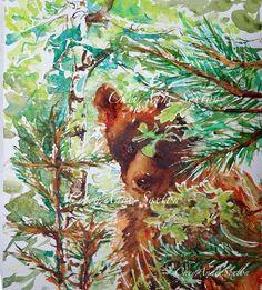 Watercolor Bear art  ORIGINAL Wall Art Painting Wild Brown