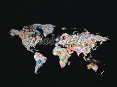 money makes the world go round - a map made entirely of money