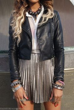 Pleated silver skirt, bangles, leather bomber statement necklace