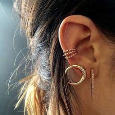 Triple Cartilage Cuff, No Piercing Earrings, Ear Wrap Body Jewelry, Jewelry Box, Jewelry Accessories, Jewelry Design, Ear Jewelry, Fine Jewelry, Bling Bling, Gold Earrings, Cheap Earrings
