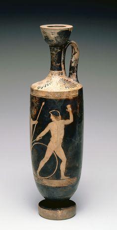 Attic Red-Figure Lekythos: Zeus and Ganymede  Culture  Greek  Creation date  ca. 460-420 B.C.
