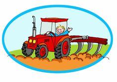 Ansichtkaart met tracktor. Bestuurd door een vrolijk jongetje. Stuur 'm naar iedereen die gek is op de boerderij!