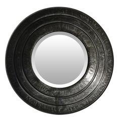 #Espejo #redondo #grande #color #gris oscuro marco ancho. Espejo redondo realizado en #metal y #decorado en color gris. De #tamaño grande y estilo #moderno, es una #pieza #decorativa que podrás colocar en el #salón o #recibidor. ¡#Envío #gratuito!
