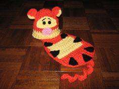 Crochet Cuddle Critter Cape Set - Tigger - Photography Prop - Newborn - Made To Order Crochet Bib, Crochet Baby Cocoon, Crochet Baby Clothes, Crochet Baby Hats, Baby Knitting, Crochet Animal Hats, Crochet Photo Props, Halloween Crochet, Unique Crochet