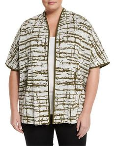 Relaxed-Fit Short-Sleeve Knit Jacket, Ivory/Jade, Plus Size