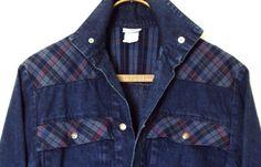 Jean Jacket vintage 80s dark blue denim plaid by MySoftParade