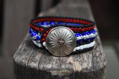 Patriotic Stars and Stripes Wrapped Leather Bracelet with Vintage Button. $29.00, via Etsy.