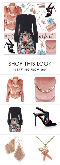 """Lovely Velvet"" by dani-elan ❤ liked on Polyvore featuring Fleur du Mal, Cafuné, RED Valentino, Walter De Silva, Kendra Scott, Chanel, Maybelline and Unis"