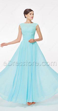 Modest prom dresses, prom dress with cap sleeves, light blue prom dresses, light aqua prom dresses, long prom dresses, chiffon prom dresses, lace prom dresses