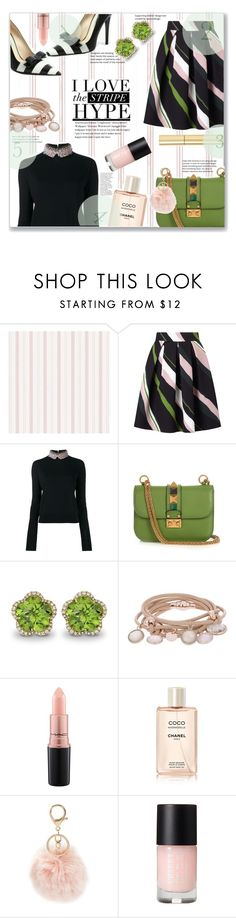 """Stripe Hype"" by jckallan ❤ liked on Polyvore featuring Marella, Marni, Valentino, Kiki mcdonough, Marjana von Berlepsch, MAC Cosmetics, Chanel, BP., AERIN and stripes"