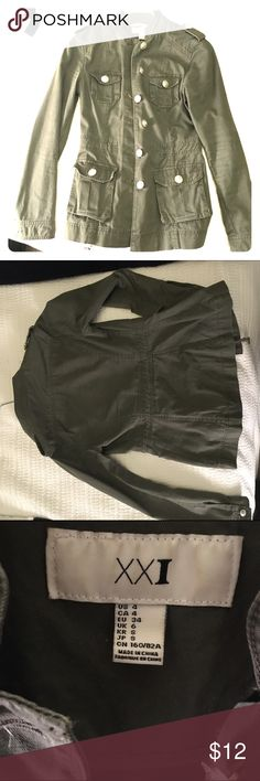 Army Jacket Forever 21 - size small Small army jacket, great used condition! No holes, stains, etc. All buttons where they need to be ;) adjustable inner strings can take the jacket in a little or loosen it up! Forever 21 Jackets & Coats Utility Jackets