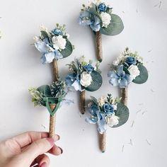 Groom boutonnière, floral boutonnières, grooms boutonnières, dusty blue boutonnière, blue boutonnièr