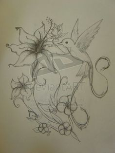 Hummingbird w/ flowers. Similiar to what I want for my back/shoulder piece.