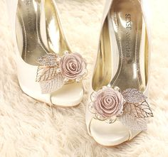 fe8ac83d7ebe Gougers handmade a pair shoe clips adorned with embroidered flower  amp   rhinestone gold leaves