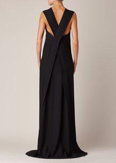 Sculptural Fashion // Ann Demeulemeester Lightlaine Dress (Black) back detail
