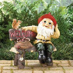 Garden Gnomes - Garden Gnome Greeting Welcome Sign Statue – Oxeme Home