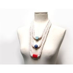 Knitted Necklace with Ceramic Beads - cream white cotton - blue, red,... ($32) ❤ liked on Polyvore