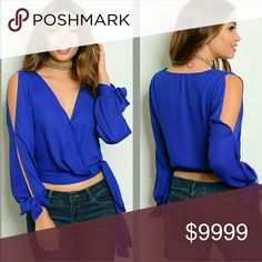 COMING SOON Royal blue surplice cold shoulder top. Ties at waist and sleeve cuffs. Super cute! More details to come!   Sizes available S M l   LIKE TO BE NOTIFIED Tops