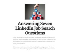 Answering Seven LinkedIn Job Search Questions