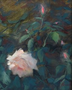 First Rose of Spring by Jacki Newell 8x10 oil painting Reinert Fine Art Gallery Blowing Rock, NC
