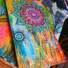 Acrylic paint pens for canvas golden acrylics and sharpie mandala art pen Kunstjournal Inspiration, Art Journal Inspiration, Painting Inspiration, Mandala Art, Mandalas Painting, Art Floral, Diy Canvas, Canvas Art, Painting Canvas