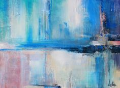 Abstract blue painting - Quiet Lake - blue art, acrylic on canvas, modern art, contemporary painting
