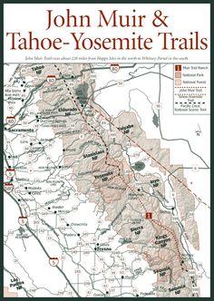 John Muir Trail, Tahoe Yosemite Trail Map Provided Courtesy of City Concierge Thru Hiking, Hiking Tips, Camping And Hiking, Backpacking, Hiking Trail Maps, Nevada Mountains, John Muir Trail, Mammoth Lakes, California Camping