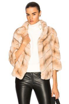 Image 1 of Yves Salomon Rabbit Fur Quarter Sleeve Jacket in Eau De Rose