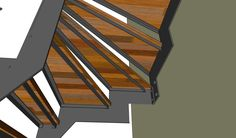Wooden stairs with iron construction. Sketchup