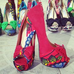 Red african print customised shoes