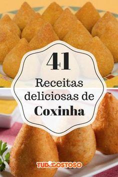 Para os viciados em coxinha, o TudoGostoso preparou uma lista com 41 opções do salgadinho! Coxinha Recipe, Empanadas, Hot Dog Buns, Happy Hour, Carne, Sweet Potato, Appetizers, Potatoes, Banana