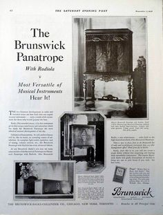 Latest Collection Of 1924 Brunswick Oxford Tudor Phonograph Music Original Two Page Ad And To Have A Long Life. Advertising Other Collectible Ads