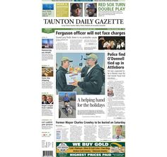 The front page of the Taunton Daily Gazette for Tuesday, Nov. 25, 2014.